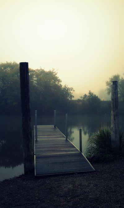 Fog over dock